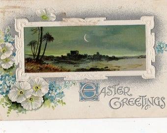 Vintage postcard - Easter greetings, white flowers POSTCARD, Jerusalem