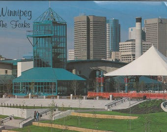 Vintage 1990s Postcard Winnipeg Manitoba MB Canada The Forks Meeting Place Market City Street View Card Photochrome Postally Unused