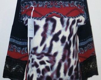 women's blouse; knitted blouse; acrylic blouse; leopard print; size m;