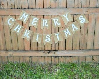 Burlap 'Merry Christmas' Banner