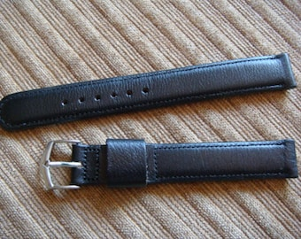 Men's Black Leather Watch Band Jacoby Bender New Vintage Stock Leather Watch Band 5/8 inch Long