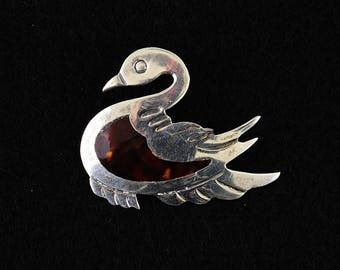 Vintage Silver Swan Brooch made in Mexico marked Taxco