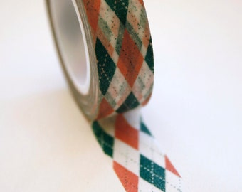 Washi Tape - 15mm - Salmon and Teal Argyle Pattern - Deco Paper Tape No. 97