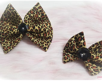 Leopard Fabric Hair Bow