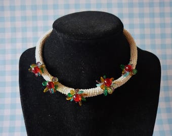 Vintage Milk Glass Choker With Glass Flowers