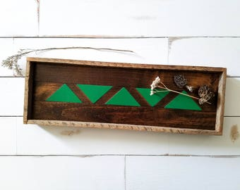 Reclaimed wood tray; serving tray, decorative tray, wood tray, ottoman tray, serving platter, nature art, evergreen tree, forest art, trees