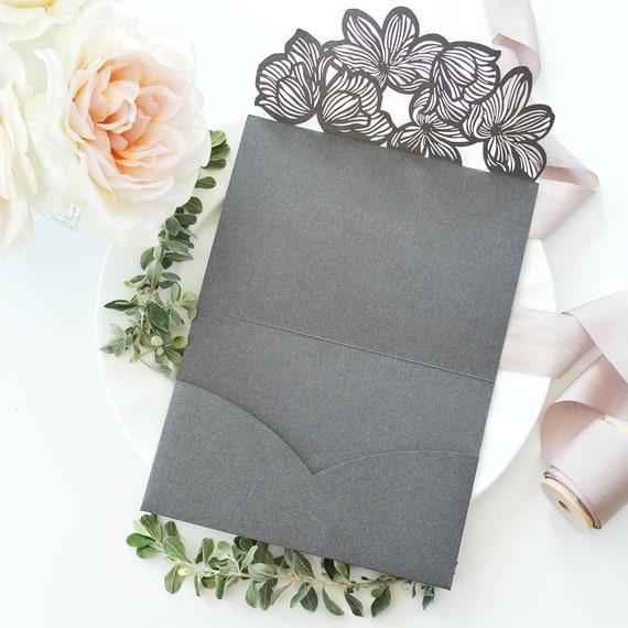 DIY Laser Cut Flower Trifold Pocket Invitation - Laser Cut Wedding Invitation - Laser Cut Flower - Do It Yourself Pocket Invitation