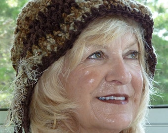 Beautiful brown winter hat with a brim, unique women's winter sun hat, original crochet winter hat, soft suede yarn, adjustable hat