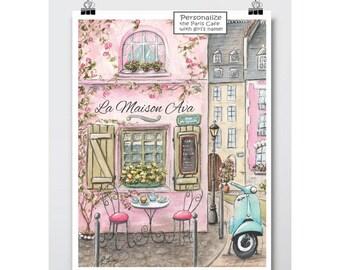 Paris Bedroom Decor, Nursery Girl Paris Art, Paris Decor, Personalised Nursery Art For Girls, Paris Room Decor, Parisian Nursery, 6 Sizes