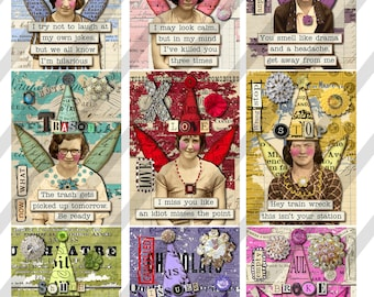 Digital Collage Sheet 2.5 X 3.5 ATC Sized Images, Sarcastic Collage Women, 9 Images(Sheet no. FS302) Instant Download