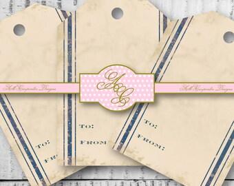 Blue Grain Sack Stripe Gift Tags, Grain sack Gift Label, Rustic Gift Tags, Vintage Gift Tag, Printable Gift Tag, Gifting Supplies, Farmhouse