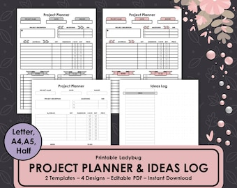 Project Planner,Project Management,Project Template, Ideas Log,Printable Project Planner,Ideas Tracker,Project Manager