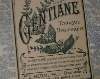 Antique French Gentian Health Tonic Label Victorian Apothecary