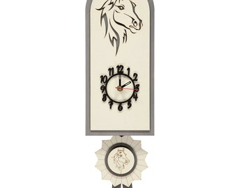 Grey Horse Rosette Style Personalised Wooden Pendulum Clock