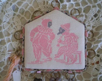 """""""My little theater"""" embroidered pink and grey thread keeper"""