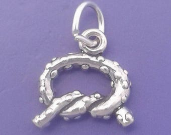 Salted PRETZEL Charm .925 Sterling Silver Small Pendant - lp2018