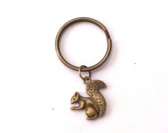 Squirrel Keychain, Antiqued Brass Squirrel Key Ring, Woodland Animal Key Chain, Squirrel Keyring, Squirrel Charm