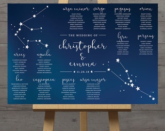 Constellation wedding table plan, celestial wedding seating chart, zodiac reception table, stars seating plan, space, night sky, DIGITAL