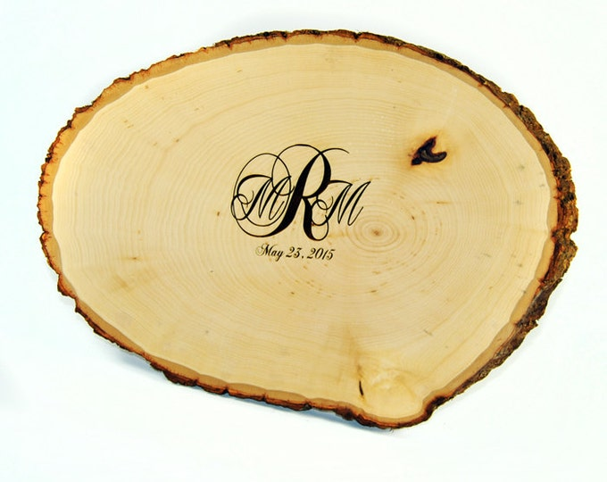 Tree Slice Guest Book with Custom Burned Monogram and Date PEN INCLUDED