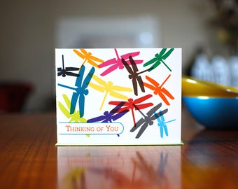 Colorful Dragonflies Thinking of You Card on 100% Recycled Paper