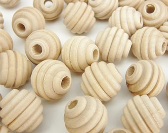 """Wooden beehive beads, 5/8"""" x 5/8"""" with a 3/16"""" hole"""