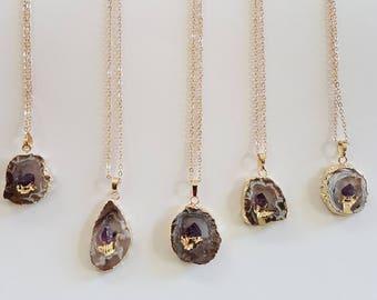 Amethyst Halskette,Freeform Natürliche Onzx Druzy Halskette,Geode ,Gold Halskette,Lange Halskette,Kristall Anhänger Halskette,Geschenk