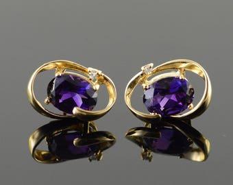14k 2.00 CTW Amethyst Swirl Stud Earrings Gold