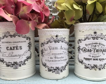 3 French Country Painted Lace Lacy Tin Cans Centerpieces Vases White Shabby Chic Typography Labels Home Dorm Wedding Office Decor Decoration