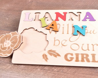 Will you be my flower girl personalized gift proposal flower girl wedding invitation puzzle custom be my flower girl jigsaw bridal party