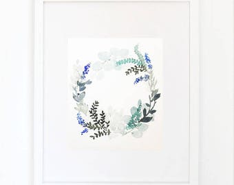 Blue Crown, original watercolor painting, 20/16.5 cm