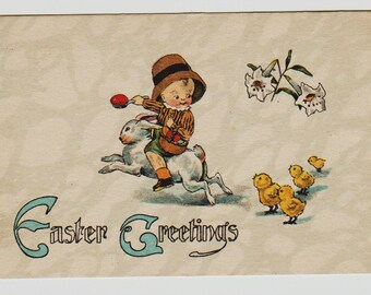 Vintage Postcard, Boy Riding a Bunny while Chicks Follow, ca 1910