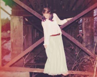 Vintage Miss Elliette mint, chiffon maxi skirt