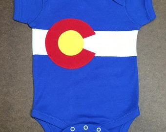 Colorado flag Onesie 100%  cotton Infant baby by Frozen Kiss CO