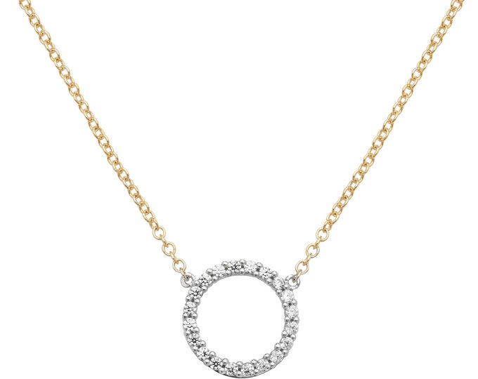 """9ct Yellow Gold 10mm Cz Circle of Life Pendant on 16""""-18"""" Necklace Hallmarked"""