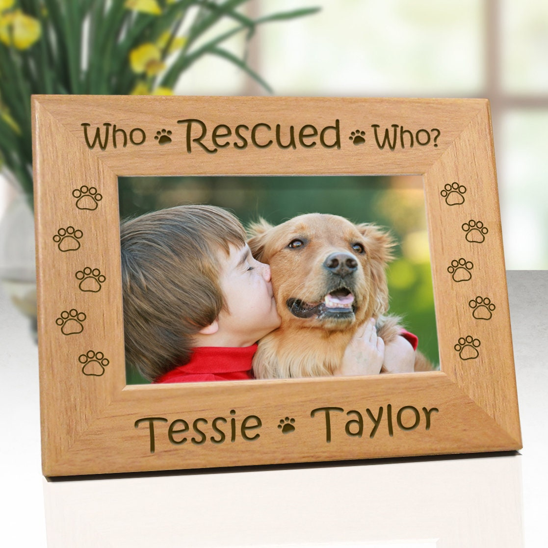 Pet frame who rescued who dog picture frame personalized zoom jeuxipadfo Images