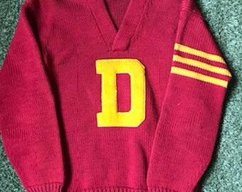 1910s-1920s Collegiate Letterman's Sweater -Size Large