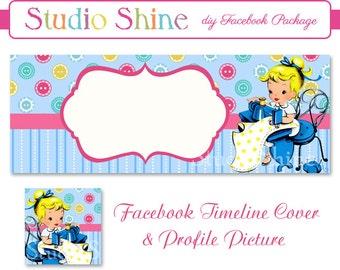DIY Facebook Cover Package - Facebook Timeline Cover and Profile Picture - Sew Happy - Blog or Website Banner Digital Instant Download