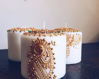 Mehndi For Candles : Henna candles etsy