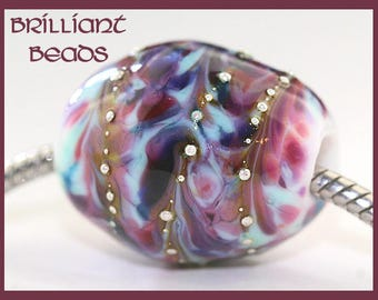 Pastel Garden...Silver-Drizzled Blue, Pink, Violet Handmade Lampwork Glass Bead with Big Hole to Fit European Bracelets