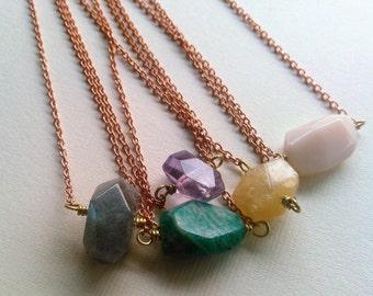 brass and gemstone wish necklace