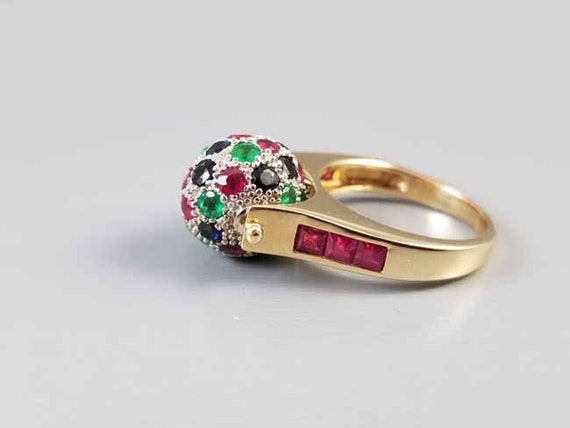 Fabulous modern estate designer 14k gold ruby sapphire and emerald spinning ball worry ring, statement ring, size 6