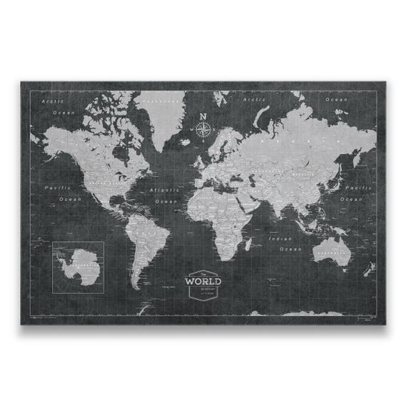 World Travel Pin Board Map Modern Push Pin Cork Canvas Best