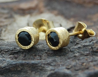 Gold Gemstone Studs, Black Spinel Studs, Studs, Gold Studs, Designer Gemstone Earrings, Simple Earrings, Round Studs, Gold Stud Earrings