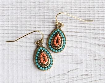 Teardrop Earrings, Turquoise and Orange Earrings, Gold Earrings, Boho Earrings, Turquoise and Gold Drop Earrings, Turquoise Earrings