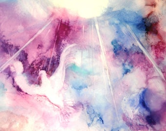 Abstract Print Wall Art, Christian Art Work, Expressionist Art, Holy Spirit Painting, Pink Alcohol Ink Giclee Print, Spiritual Art, Artwork