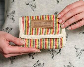 Hemp Wallet, hemp purse rasta strips