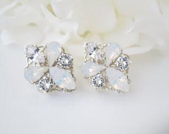 Opal stud wedding earrings, Bridesmaid earrings, Swarovski white opal post earrings, Rhinestone earrings, Simple crystal earrings