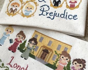 Pride and Prejudice 2 Pack Cross Stitch Patterns-Jane Austen Inspired PDF Instant Download