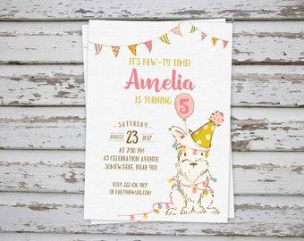 Dog Birthday Invitation, Puppy Party, Puppy Birthday, Puppy Invite, Dog Invite, Dog Party Invitation