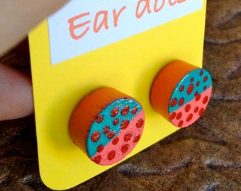 Ear Dots, Earrings,Studs, Colorful Painted little Wood Dots,